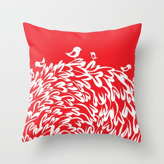 Red Birds Throw Pillow by Judy Kaufmann Society6