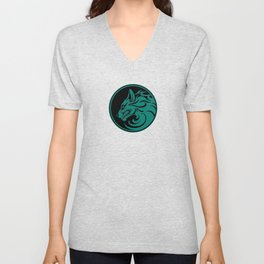 Teal Blue Growling Wolf Disc Unisex V-Neck