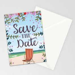 Save the Date Deck chair and beach Stationery Cards