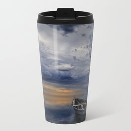 Morning Sunrise with Anchored Wooden Row Boat Travel Mug
