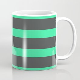 Green Turquoise Stripes on Gray Background Coffee Mug