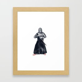 Kendoka Kendo Swordsman Watercolor Framed Art Print