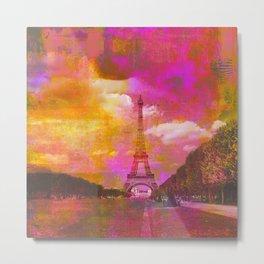 Paris Eiffeltower Mixed Media Art Metal Print