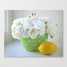 Polka Dots and a Lemon Canvas Print