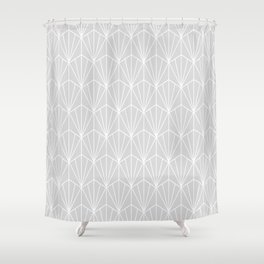Art Deco Vector in Grey and White Shower Curtain