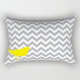 Yellow Bird on Gray Chevron Rectangular Pillow