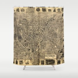 Aerial View of Waterbury, Connecticut (1899) Shower Curtain
