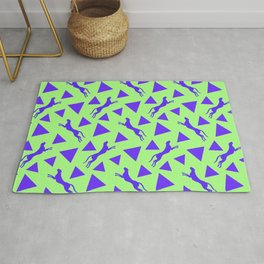 Gorgeous wild jumping cheetahs and abstract purple geometrical triangle shapes. Stylish playful pastel green retro vintage animal whimsical cute nature pattern. Silhouettes. Rug