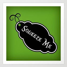 """Squeeze Me"" Alice in Wonderland styled Bottle Tag Design in 'Garden Green' Art Print"