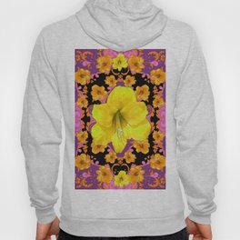 TROPICAL YELLOW & GOLD AMARYLLIS FLOWERS PATTERN ON Hoody