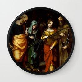 "Antonio Allegri da Correggio ""Saints Peter, Martha, Mary Magdalen, and Leonard"" Wall Clock"