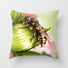 Wasp on flower 6 Throw Pillow