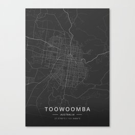 Toowoomba, Australia - Dark Map Canvas Print