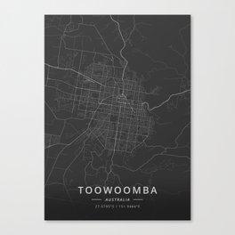 Toowoomba, Australia - Dark Map Canvas Print