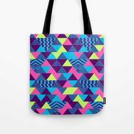 Vintage Retro 1980s 80s Nights New Wave Triangular Print Tote Bag