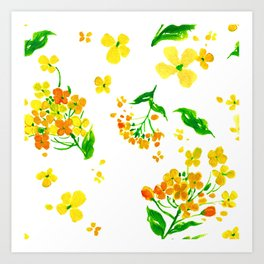 Sunny Watercolor Spring Beautiful Blooming Flowers Art Print
