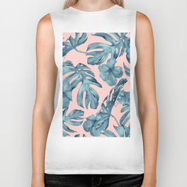 Island Life Teal on Light Pink Biker Tank