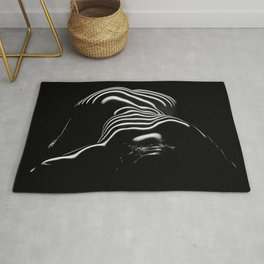 0686-AR BW Contemporary Art Nude Large Woman BBW Graceful and Strong Rug
