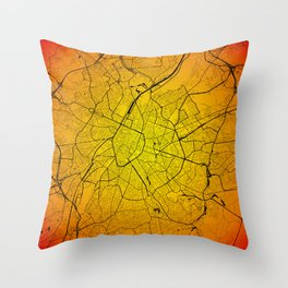 Bruxelles Brussels map Throw Pillow