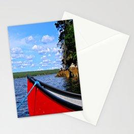 Red canoe in Shelburne, Nova Scotia Stationery Cards