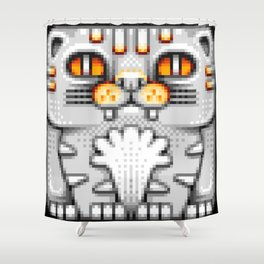 Cat Totem Pixel Art Shower Curtain