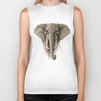 elephant Biker Tanks featuring Elephant by Rafapasta