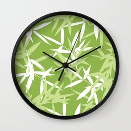 Green Bamboo Leaves Unique Pattern Wall Clock
