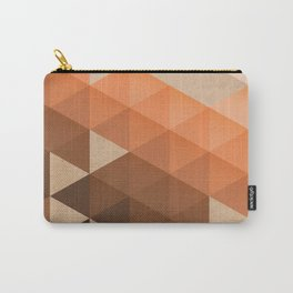 Warm Brown  -  Geometric Triangle Pattern Carry-All Pouch