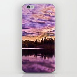 Surreal Purple Clouds Reflecting on Calm Water iPhone Skin