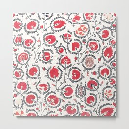 Wildflower II // 18th Century Positive Happy Colorful Red Green Botanical Garden Flowery Pattern Metal Print