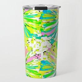 Dahlia Blue Green and Pink Travel Mug
