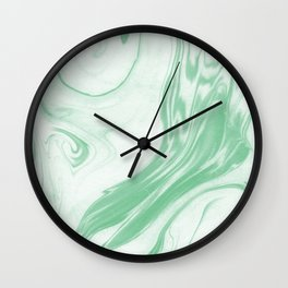 Ryo - happy bright green pastel spilled ink japanese monoprint marbled paper marbling abstract  Wall Clock