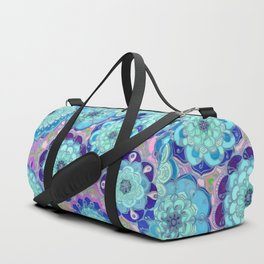 Radiant Cyan & Purple Stained Glass Floral Mandalas Duffle Bag