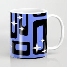 Retro Mid Century Modern Abstract Pattern 581 Black and Blue Coffee Mug