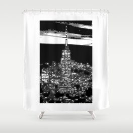 1930 New York City by night Shower Curtain