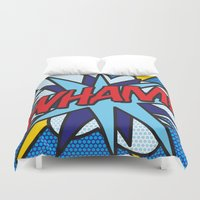 comic book Duvet Covers featuring Comic Book WHAM! by The Image Zone