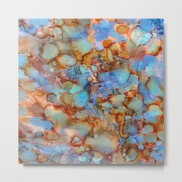 Evening in Autumn - Alcohol ink painting Metal Print
