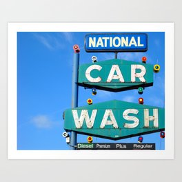 National Car Wash ~ vintage sign Art Print