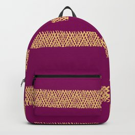 Hatch Marks of Lines in Yellow on Deep Wine Backpack