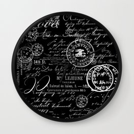White Vintage Handwriting on Black Wall Clock