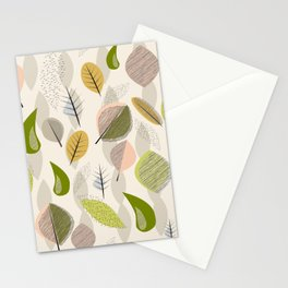 Mid Century Modern Falling Leaves Stationery Cards