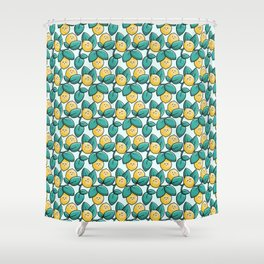 Kawaii Cute Lemon and Leaves Shower Curtain