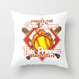 Forget Glass Slippers, This Princess Wears Cleats Throw Pillow