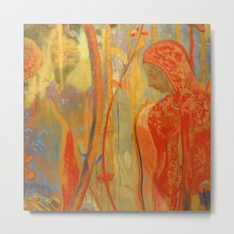 """Odilon Redon """"Figure from the decoration of Domency  Castle"""" Metal Print"""