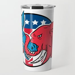 Donkey Biting Elephant Trunk American Flag Drawing Travel Mug
