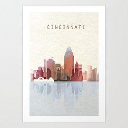 Cincinnati Print, Cincinnati Skyline, Cincinnati Poster, Ohio Art Art Print