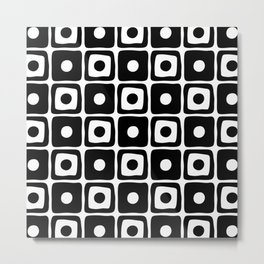 Mid Century Square Dot Pattern Black/White Metal Print