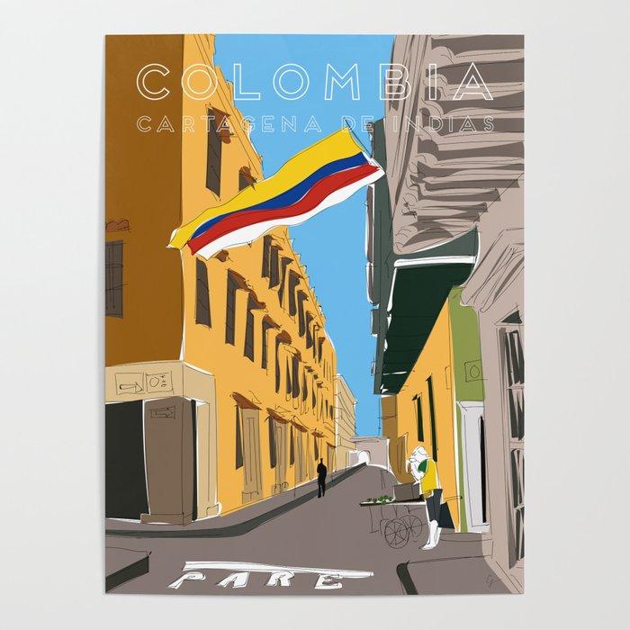 Cartagena de Indias, Colombia Travel Poster Poster