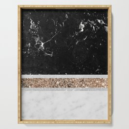 Black and White Marble Gold Glitter Stripe Glam #1 #minimal #decor #art #society6 Serving Tray