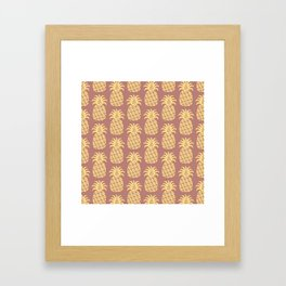 Mid Century Modern Pineapple Pattern Yellow and Brown Framed Art Print